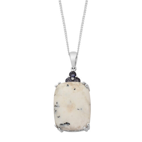 Dendritic Opal (Cush 13.75 Ct), Iolite Pendant With Chain in Platinum Overlay Sterling Silver 14.000 Ct.