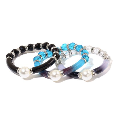 Set of 3 - Simulated Blue, Black and White Colour Diamond and White Austrian Crystal Stretchable Bracelet (Size 7.5) in Silver Tone