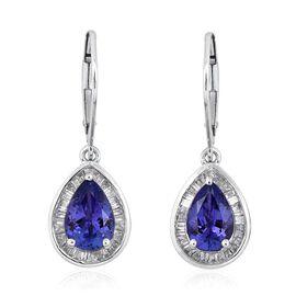 ILIANA 18K W Gold AAA Tanzanite (Pear), Diamond (SI/G-H) Lever Back Earrings 3.000 Ct.