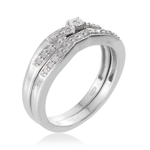 Set of Two - Diamond (Rnd 0.05 Ct) Ring in Platinum Overlay Sterling Silver 0.250 Ct.