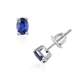 RHAPSODY 950 Platinum 0.75 Carat AAAA Ceylon Blue Sapphire Oval Stud Earrings (with Screw Back)