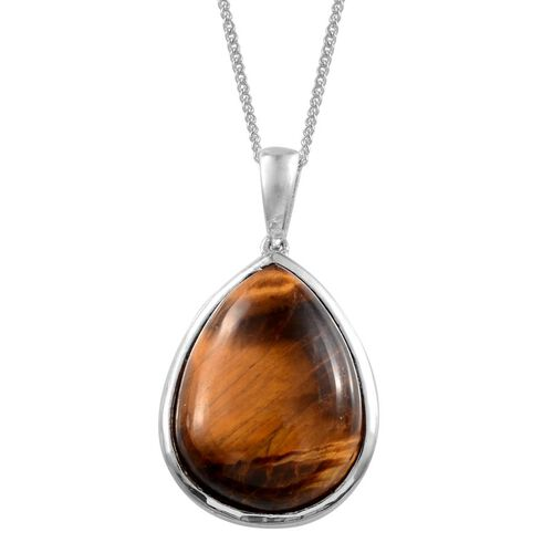 Tigers Eye (Pear) Solitaire Pendant in ION Plated Platinum Bond With Stainless Steel Chain 15.500 Ct.