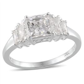 J Francis - Sterling Silver (Sqr) Ring Made with SWAROVSKI ZIRCONIA