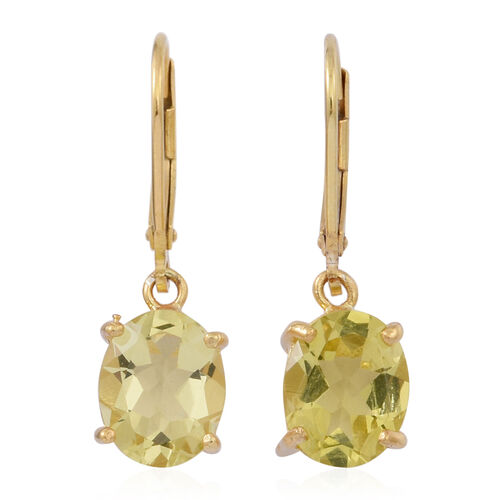 Lemon Quartz (Ovl) Lever Back Earrings in 14K Gold Overlay Sterling Silver 4.500 Ct.