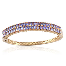 Tanzanite (Ovl), Diamond Bangle (Size 7) in 14K Gold Overlay Sterling Silver 7.770 Ct.