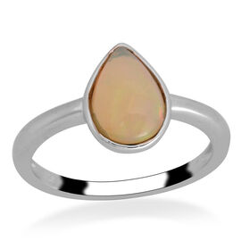 Ethiopian Welo Opal (Pear) Solitaire Ring in Platinum Overlay Sterling Silver 1.050 Ct.