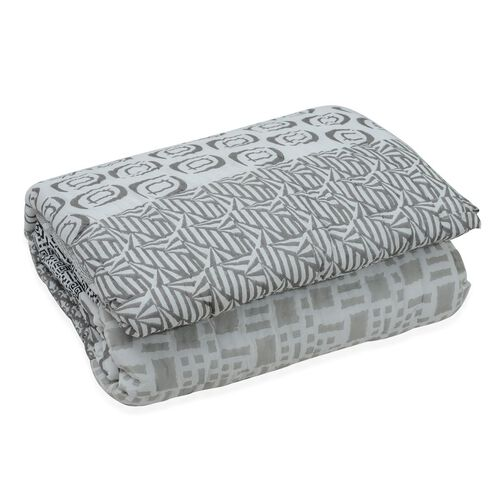 Cotton and Fibre Black, Grey and White Colour Printed Quilt (Size 274x223 Cm)