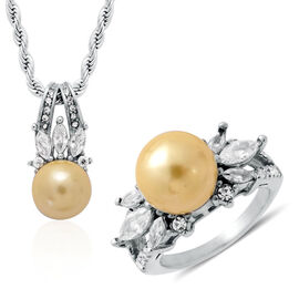 Golden Shell Pearl, White Austrian Crystal Ring and Pendant with Rope Chain in Stainless Steel