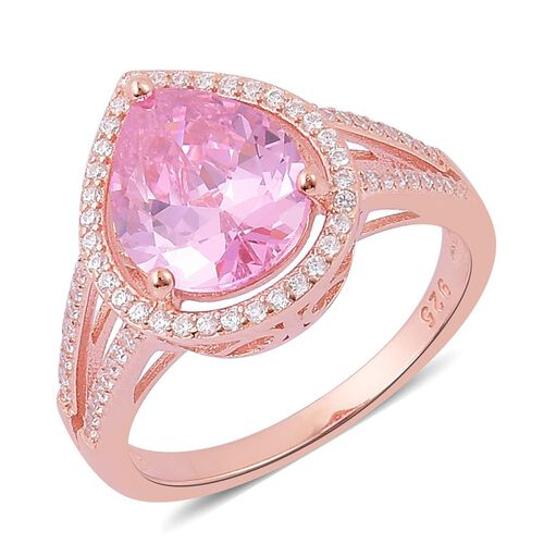 ELANZA AAA Simulated Pink Sapphire and Simulated White Diamond Ring in Rose Gold Overlay Sterling Silver