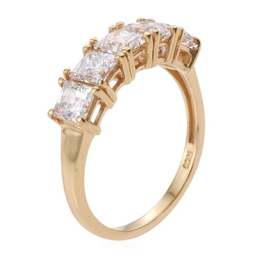 J Francis - 14K Gold Overlay Sterling Silver (Sqr) 5 Stone Ring Made with SWAROVSKI ZIRCONIA