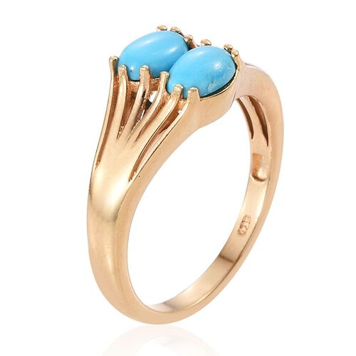 Arizona Sleeping Beauty Turquoise (Ovl) Ring in 14K Gold Overlay Sterling Silver 1.500 Ct.