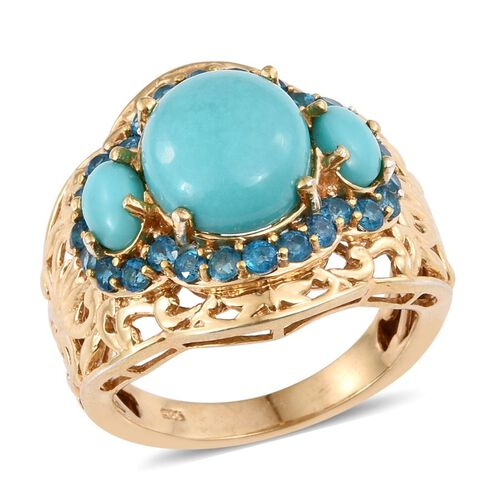 Sonoran Turquoise (Ovl 4.25 Ct), Malgache Neon Apatite Ring in 14K Gold Overlay Sterling Silver 6.250 Ct.