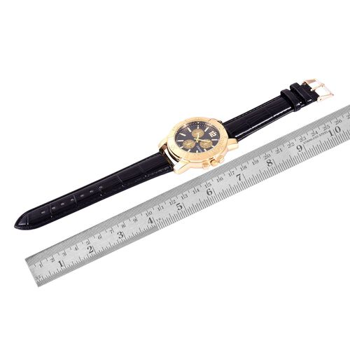 STRADA Japanese Movement Black Dial Water Resistant Watch in Gold Tone with Stainless Steel Back and Black Strap