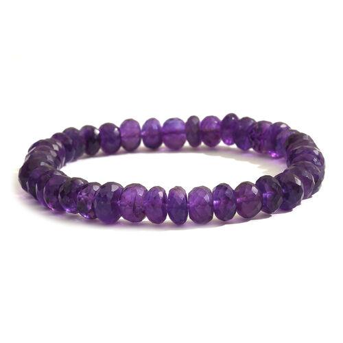 Amethyst (Rnd) Stretchable Beads Bracelet (Size 7.5) 100.000  Ct.