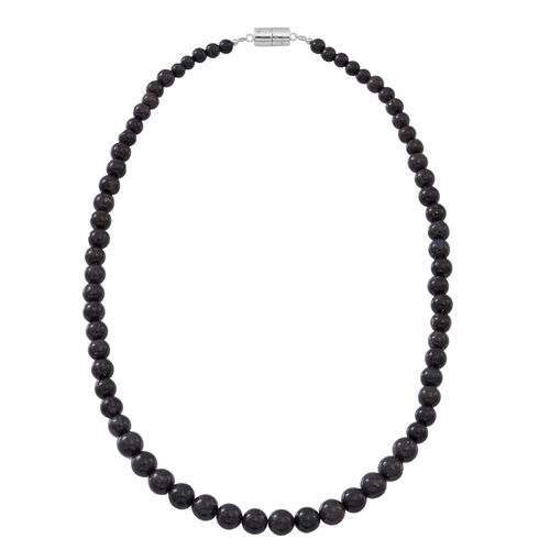 Very Rare Natural AAA Australian Matrix Opal Beads Necklace (Size 18) with Magnetic Clasp in Rhodium Plated Sterling Silver 150.000 Ct.