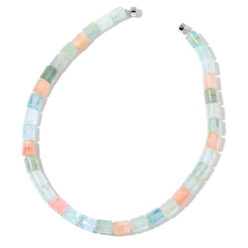 Limited Available- Very Rare AAA Marropino Morganite and Espirito Santo Aquamarine Necklace (Size 20) with Magnetic Clasp in Rhodium Plated Sterling Silver 588.000 Ct.