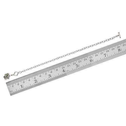 Bohemian Moldavite (Pear), Diamond Floral Charm Bracelet (Size 7.5) in Platinum Overlay Sterling Silver 0.760 Ct.