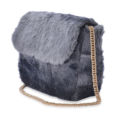Faux Fur Grey Colour Crossbody Bag with Chain Strap (Size 24x19x10 Cm)