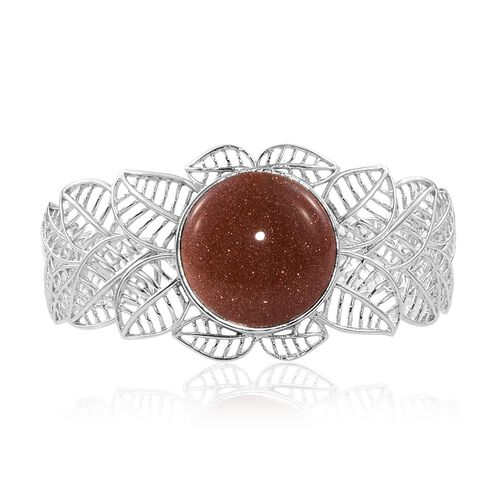 Limited Edition-Gold Sandstone (Rnd) Leaves Cuff Bangle (Size 7.5) in ION Plated Platinum Bond
