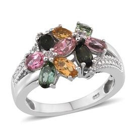 Rainbow Tourmaline (Ovl), Natural Cambodian Zircon Ring in Platinum Overlay Sterling Silver 2.000 Ct.