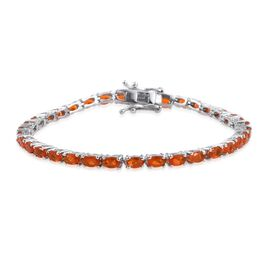 AA Jalisco Fire Opal (Ovl) Tennis Bracelet (Size 7.5) in Platinum Overlay Sterling Silver 5.250 Ct.