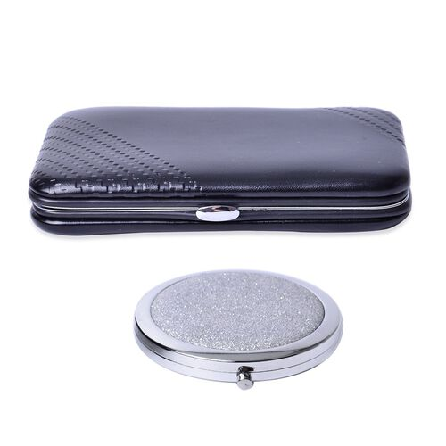Black Colour Minicare Kit (6Pcs) and Silver Colour Compact Mirror in Stainless Steel