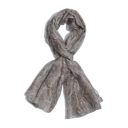 100% Mulberry Silk Cream, Grey and Chocolate Colour Abstract Pattern Scarf (180x100 Cm)