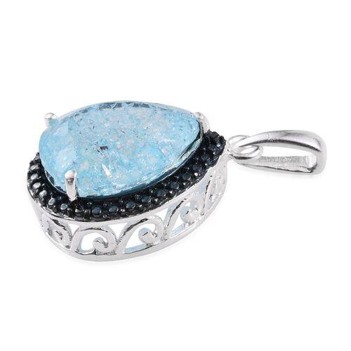 Aquamarine Blue Crackled Quartz (Pear), Blue Diamond Pendant in Sterling Silver 4.510 Ct.