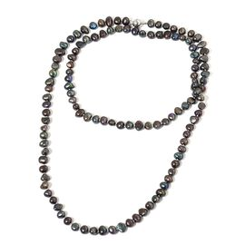 Fresh Water Peacock Pearl Beaded Necklace (Size 36) in Silver Tone
