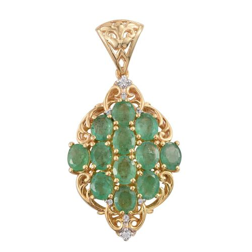 Kagem Zambian Emerald (Ovl), Natural Cambodian Zircon Pendant in 14K Gold Overlay Sterling Silver 3.750 Ct.
