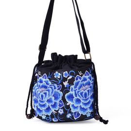 Shanghai Collection - Elegant Blue Peony Embroidered Crossbody Bag (Size 19.5x16.5x13 Cm)