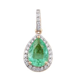 ILIANA 18K Y Gold Boyaca Colombian Emerald (Pear 1.90 Ct), Diamond Pendant 2.150 Ct.