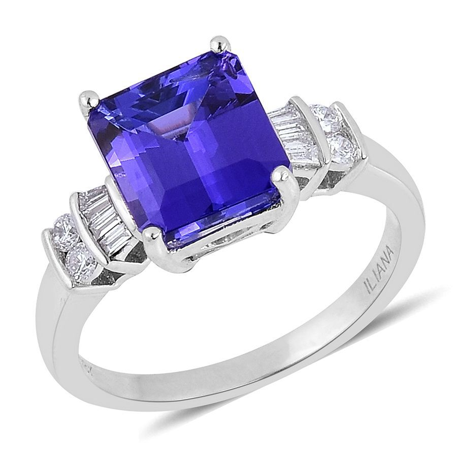 Iliana 18k White Gold Aaa Tanzanite Oct 4 00 Ct Diamond