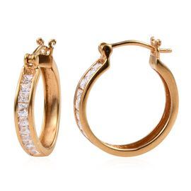 J Francis - 14K Gold Overlay Sterling Silver (Bgt) Hoop Earrings (with Clasp) Made with SWAROVSKI ZIRCONIA