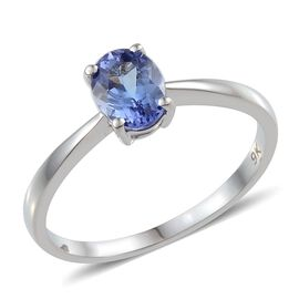 9K White Gold Tanzanite (Ovl) Solitaire Ring 1.000 Ct.