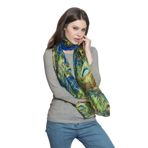 100% Mulberry Silk Blue, Green and Multi Colour Peacock Feather Pattern Scarf (Size 180X100 Cm)