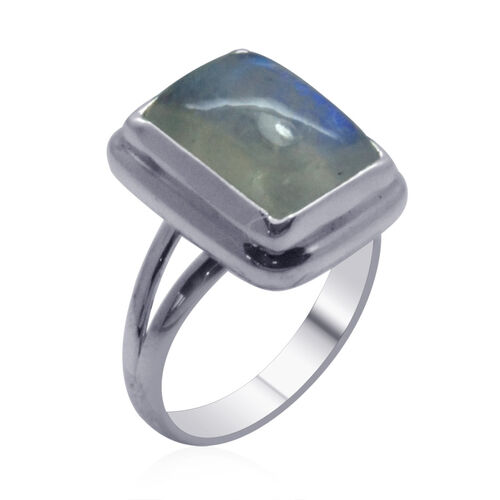 Royal Bali Collection Rainbow Moonstone (Cush) Solitaire Ring in Sterling Silver 9.930 Ct.
