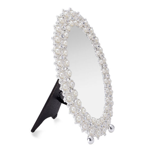 Oval Shape Photo Frame in Silver Tone Decorated with White Austrian Crystal and Resin Pearl