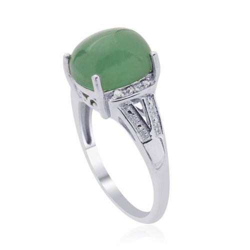 Emerald Quartz (Cush 4.75 Ct), Diamond Ring in Platinum Overlay Sterling Silver 4.800 Ct.