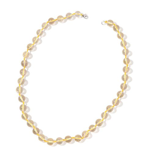 Green Gold Quartz Beaded Necklace (Size 20) in Rhodium Plated Sterling Silver 260.000 Ct.