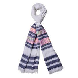 Pink, Blue, Grey and Multi Colour Stripe Pattern White Colour Scarf (Size 200x90 Cm)