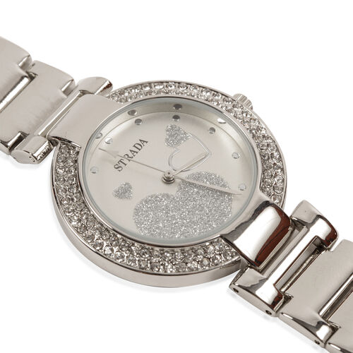 Floral Pattern Grey Colour Scarf (Size 180x67 Cm), STRADA Japanese Movement Stardust White Dial White Austrian Crystal Water Resistant Watch and Set of 7 Bangles (Size 7) in Silver Tone