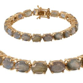 Labradorite (Ovl) Tennis Bracelet (Size 7) in 14K Gold Overlay Sterling Silver 28.000 Ct.