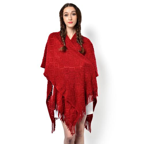 Red Colour Knitted Shawl with Tassels (Size 90x85 Cm)