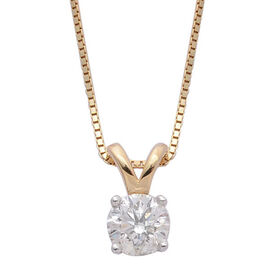 ILIANA 18K Y Gold IGI Certified Diamond (Rnd) (SI/G-H) Solitaire Pendant With Chain 0.250 Ct.