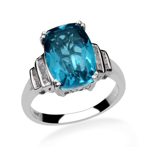 Capri Blue Quartz (Cush 5.75 Ct), Diamond Ring in Platinum Overlay Sterling Silver 5.900 Ct.