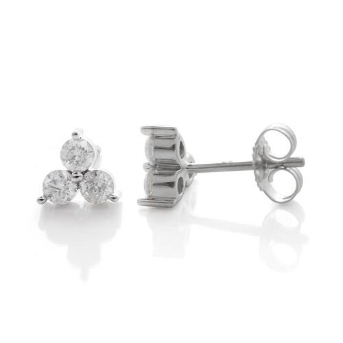 9K White Gold SGL Certified Diamond (Rnd) (I3/G-H) Stud Earrings (with Push Back) 0.500 Ct.