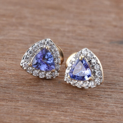 9K Y Gold AA Tanzanite (Trl), Natural Cambodian Zircon Stud Earrings (with Push Back) 1.135 Ct.