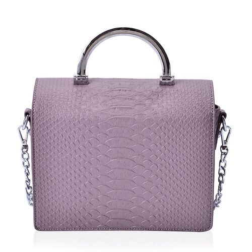 Snake Embossed Lavender Colour Crossbody Bag with Removable Chain Strap (Size 21x17x8 Cm)