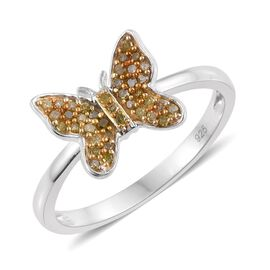 Yellow Diamond (Rnd) Butterfly Ring in Platinum Overlay Sterling Silver 0.200 Ct.